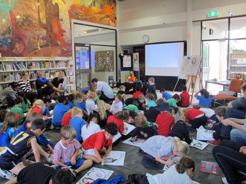 workshopping under Shaun Tan's mural at Subiaco Library