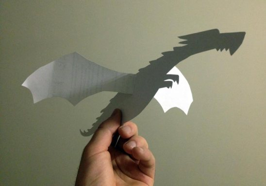 dragon with flappy paper wings - idea courtesy of Briony Stewart