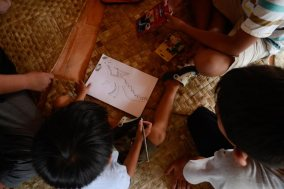 designing dragons - photo courtesy Aryo Bimo and Ubud Writers Fest
