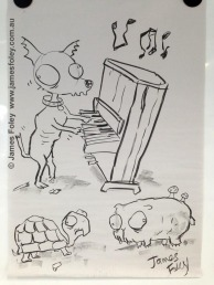 piano-playing zombie chihuahua, zombie tortoise and zombie guinea pig