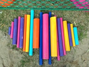 PVC pipes spray painted for the music play area