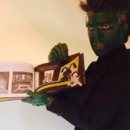 Finn the zombie, reading like a boss