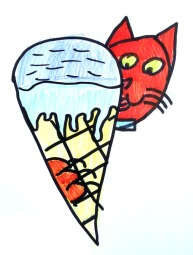 a cat eating an icecream, just because
