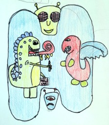 imagination, drawing weird monsters