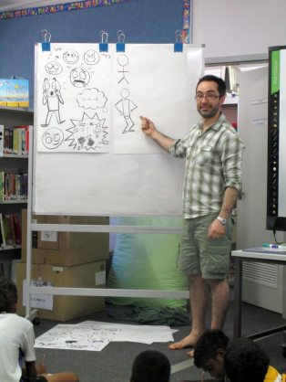 Cartooning class, Looma Community