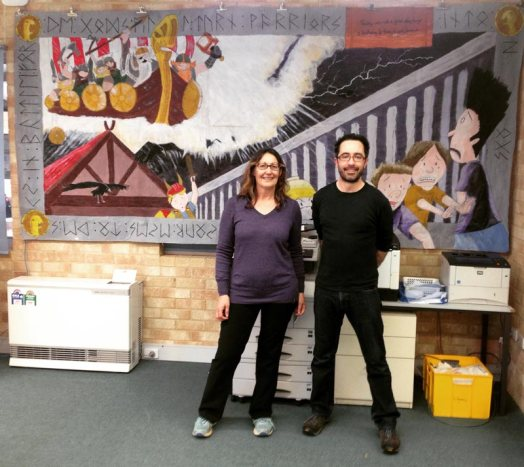 Hand-painted Last Viking mural, Dardanup PS