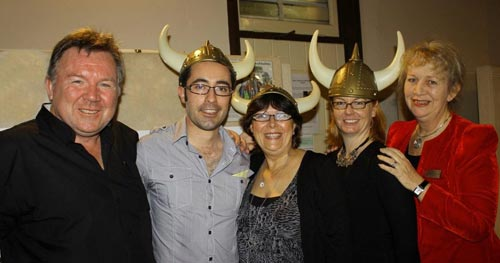 The Last Viking book launch, June 24th, 2011. (L-R) Norman, James, Kris Williams, our editor Cate Sutherland, and Director of the Children's Literature Centre Lesley Reece