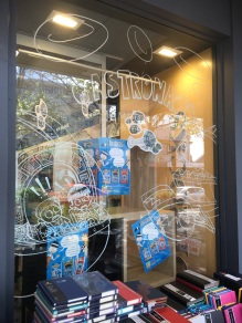 Drawing on the window at Dymocks Subi