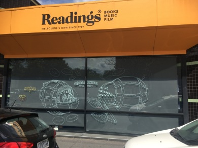 Drawing on the windows at Readings St Kilda, VIC