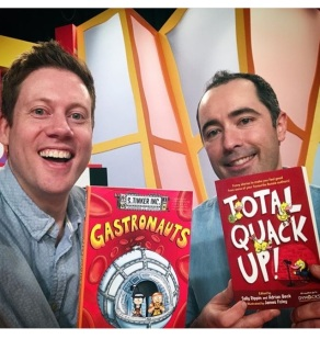 With Adrian the Book Guy Beck on the set of Kids' WB