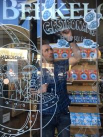 Drawing on the window at Berkelouw Books, Leichhardt