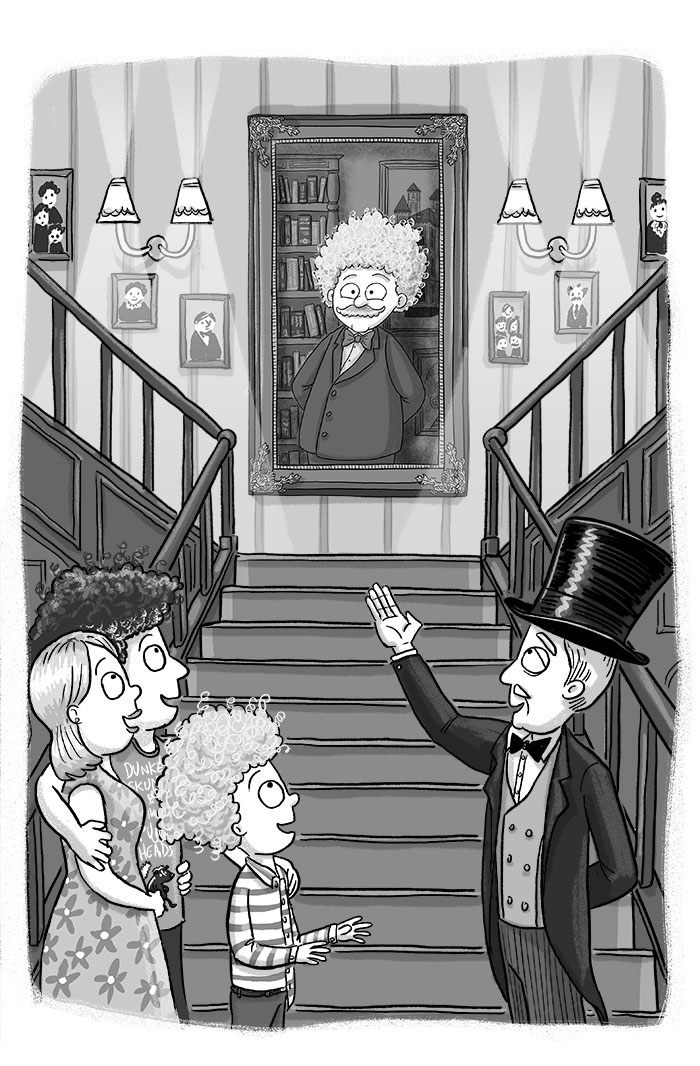 Chegwin and his parents at the foot of the grand staircase