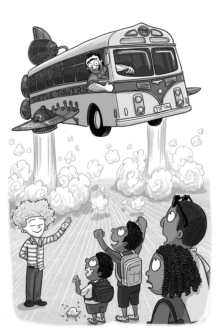 a flying hotel shuttle bus