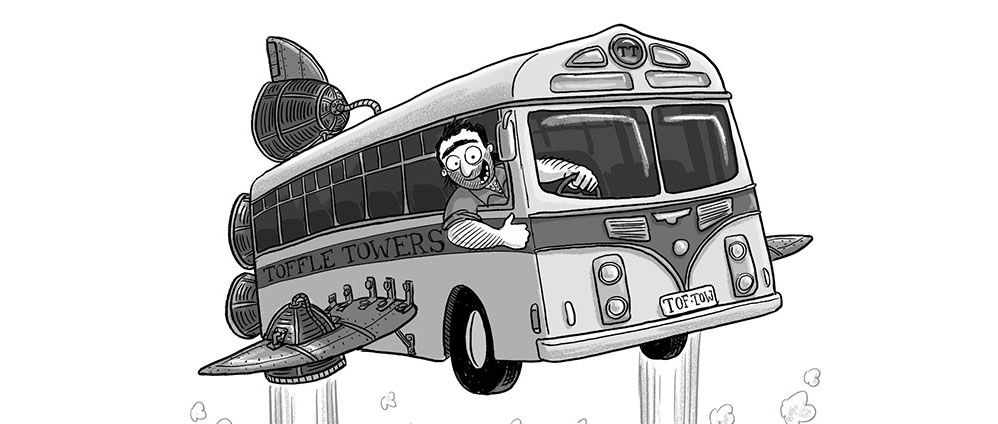 Toffle Towers: old-school hand-lettering & a rocket-powered bus
