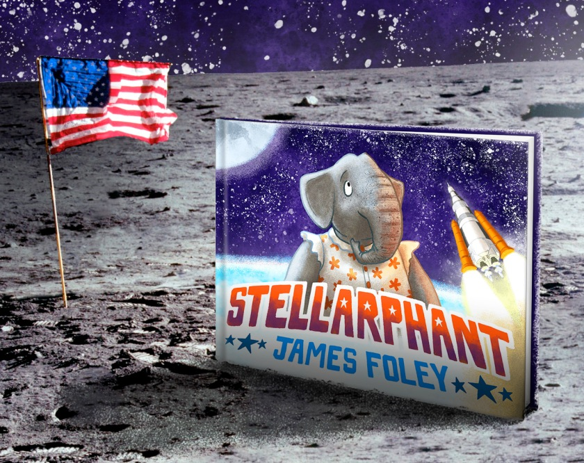 The flag of the USA flutters on a flagpole on the surface of the moon. A copy of Stellarphant sits next to it.